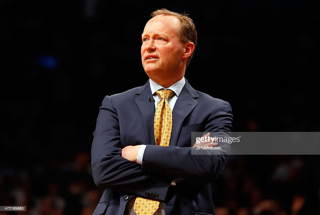 Head coach Mike Budenholzer of the Atlanta Hawks in action against the Brooklyn Nets during game six in the first round of the 2015 NBA Playoffs at Barclays Center on May 1, 2015 in the Brooklyn borough of New York City. The Hawks defeated the Nets 111-87 to win the best of seven series 4 games to 2.