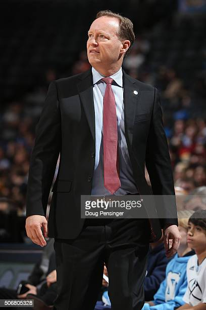 Head coach Mike Budenholzer of the Atlanta Hawks leads his team against the Denver Nuggets at Pepsi Center on January 25 2016 in Denver Colorado The...