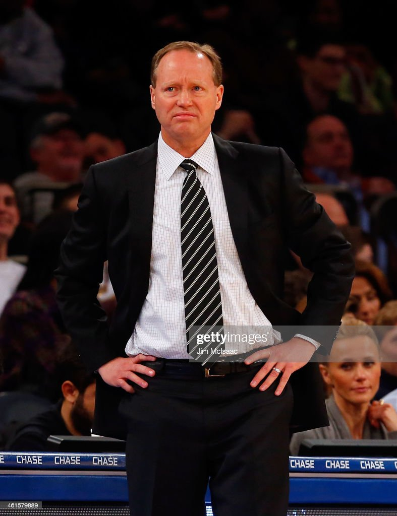 Head coach Mike Budenholzer of the Atlanta Hawks looks on against the New York Knicks at Madison Square Garden on December 14, 2013 in New York City. The Knicks defeated the Hawks 111-106.