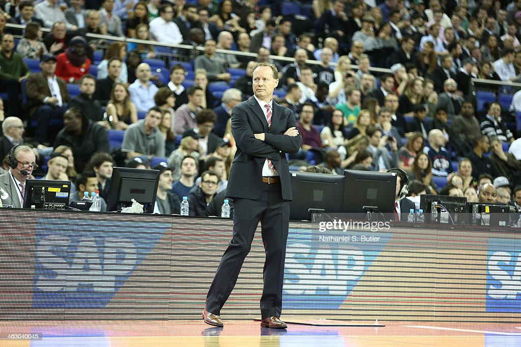 Head Coach Mike Budenholzer of the Atlanta Hawks looks on against the Brooklyn Nets as part of the 2014 Global Games on January 16, 2014 at The O2 Arena in London, England.