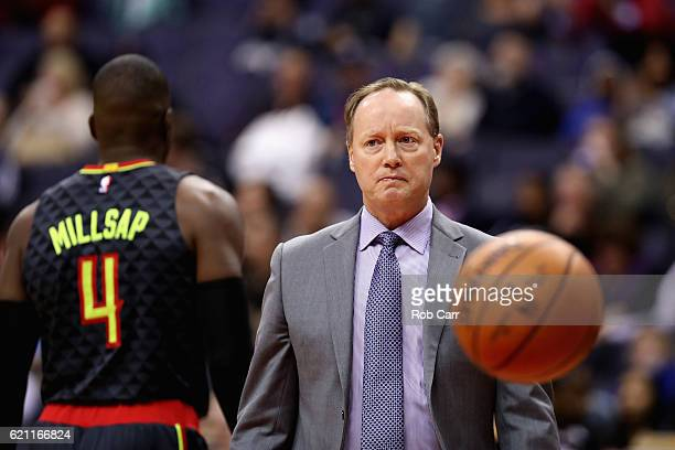 Head coach Mike Budenholzer of the Atlanta Hawks looks on against the Washington Wizards in the first half at Verizon Center on November 4 2016 in...
