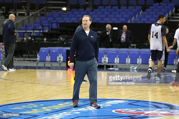 Head Coach Mike Budenholzer of the Atlanta Hawks looks on during practice as part of the 2014 Global Games on January 15 2014 at The O2 Arena in...