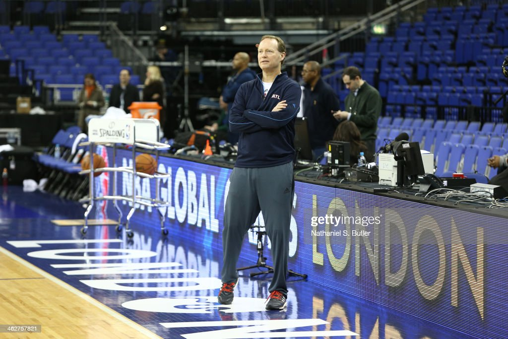 Head Coach Mike Budenholzer of the Atlanta Hawks looks on during practice as part of the 2014 Global Games on January 15, 2014 at The O2 Arena in London, England.