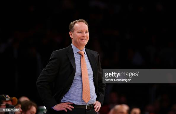 Head Coach Mike Budenholzer of the Atlanta Hawks looks on during the NBA game between the Atlanta Hawks and the Los Angeles Lakers at Staples Center...