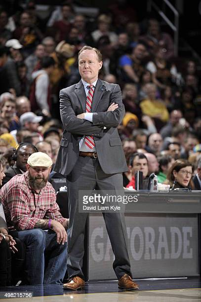 Head Coach Mike Budenholzer of the Atlanta Hawks looks on during the game against the Cleveland Cavaliers on November 21 2015 at Quicken Loans Arena...
