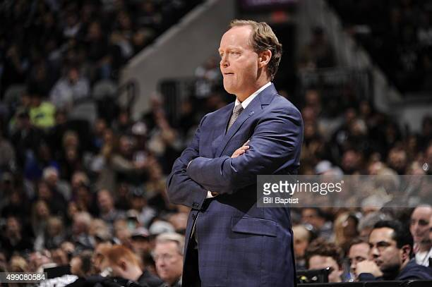 Head Coach Mike Budenholzer of the Atlanta Hawks looks on during the game against the San Antonio Spurs on November 28 2015 at the ATT Center in San...