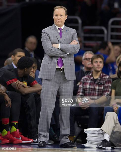 Head coach Mike Budenholzer of the Atlanta Hawks looks on during the game against the Philadelphia 76ers on January 7 2016 at the Wells Fargo Center...