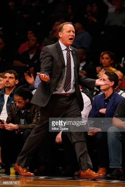 Head Coach Mike Budenholzer of the Atlanta Hawks looks on from the bench against the Atlanta Hawks at Barclays Center on April 11 2014 in New York...