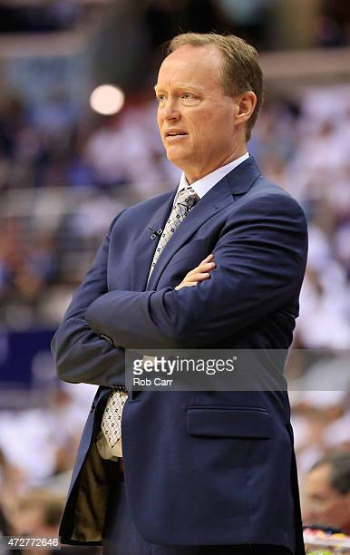 Head coach Mike Budenholzer of the Atlanta Hawks looks on in the first half against the Washington Wizards during Game Three of the Eastern...