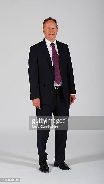 Head Coach Mike Budenholzer of the Atlanta Hawks poses during NBA Photo Day on September 28 2015 at Philips Arena in Atlanta Georgia NOTE TO USER...