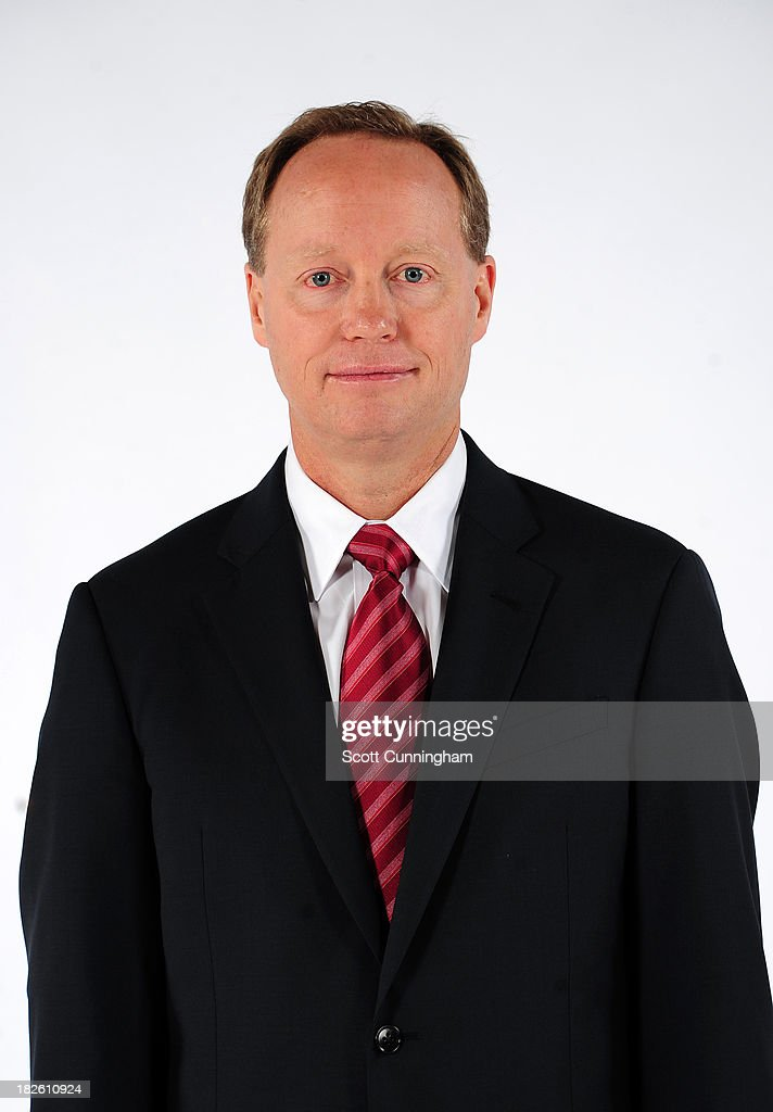 Head Coach Mike Budenholzer of the Atlanta Hawks poses for a photograph during NBA Media Day at Philips Arena on September 30 2013 in Atlanta Georgia...