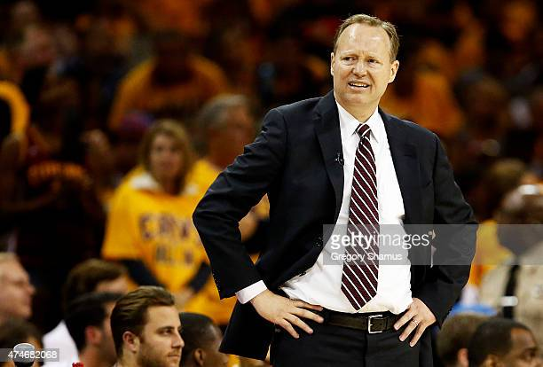 Head coach Mike Budenholzer of the Atlanta Hawks reacts in the third quarter against the Cleveland Cavaliers during Game Three of the Eastern...