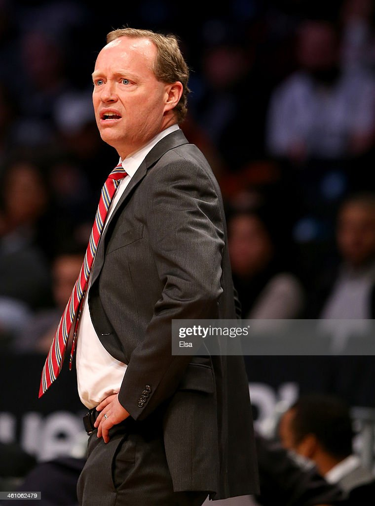 Head coach <a gi-track='captionPersonalityLinkClicked' href=/galleries/search?phrase=Mike+Budenholzer&family=editorial&specificpeople=2332367 ng-click='$event.stopPropagation()'>Mike Budenholzer</a> of the Atlanta Hawks reacts to a call in the second half against the Brooklyn Nets at the Barclays Center on January 6, 2014 in the Brooklyn borough of New York City.The Brooklyn Nets defeated the Atlanta Hawks 91-86.