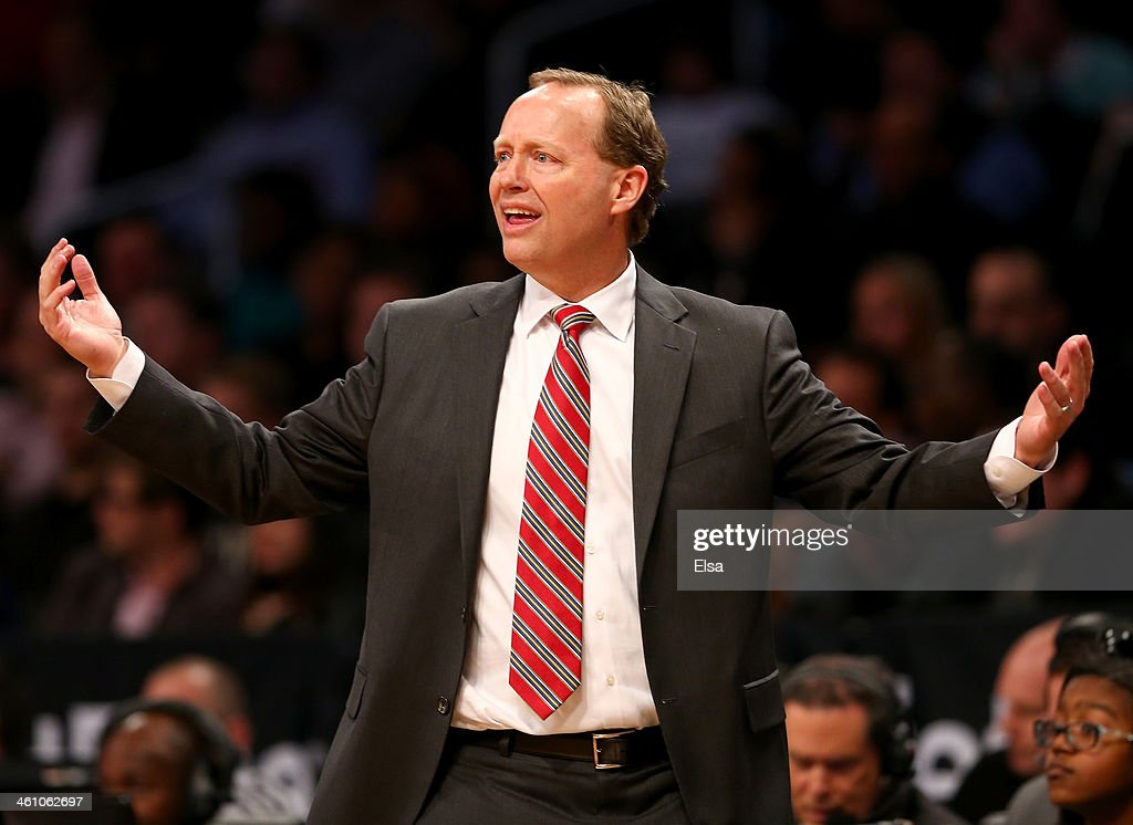 Head coach Mike Budenholzer of the Atlanta Hawks reacts to a call in the second half against the Brooklyn Nets at the Barclays Center on January 6, 2014 in the Brooklyn borough of New York City.The Brooklyn Nets defeated the Atlanta Hawks 91-86.