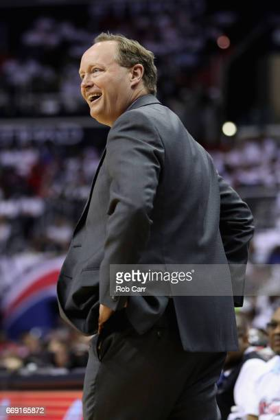 Head coach Mike Budenholzer of the Atlanta Hawks reacts to a call in the first half against the Washington Wizards in Game One of the Eastern...