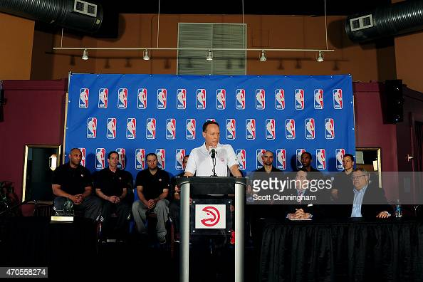 Head Coach Mike Budenholzer of the Atlanta Hawks speaks after being awarded the NBA Coach Of The Year during a press conference on April 21 2015 at...