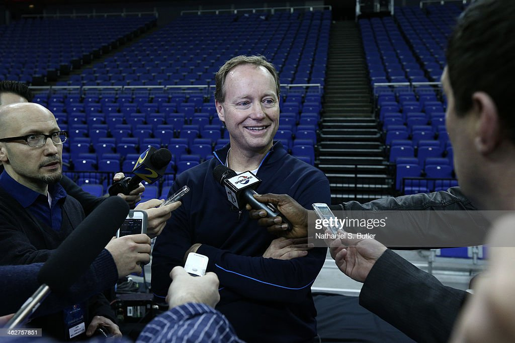 Head Coach Mike Budenholzer of the Atlanta Hawks speaks to the media during media availability as part of the 2014 Global Games on January 15, 2014 at The O2 Arena in London, England.