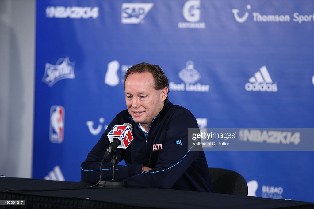 Head Coach Mike Budenholzer of the Atlanta Hawks speaks to the media prior to the game against the Brooklyn Nets as part of the 2014 Global Games on January 16, 2014 at The O2 Arena in London, England.