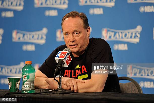 Head coach Mike Budenholzer of the Atlanta Hawks speaks with press before facing the Cleveland Cavaliers for Game Two of the Eastern Conference...