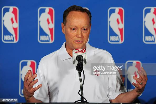 Head Coach Mike Budenholzer of the Atlanta Hawks speaks with the media after being awarded the NBA Coach Of The Year during a press conference on...
