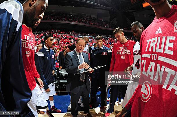 Head coach Mike Budenholzer of the Atlanta Hawks talks with his team in Game Five of the Eastern Conference Quarterfinals against the Brooklyn Nets...