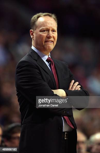 Head coach Mike Budenholzer of the Atlanta Hawks watches as his team takes on the Chicago Bulls at the United Center on April 15 2015 in Chicago...