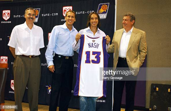 Head Coach Mike D' Antoni General Manager Bryan Colangelo Steve Nash and Chairman and CEO Jerry Colangelo all of the Phoenix Suns organization pose...