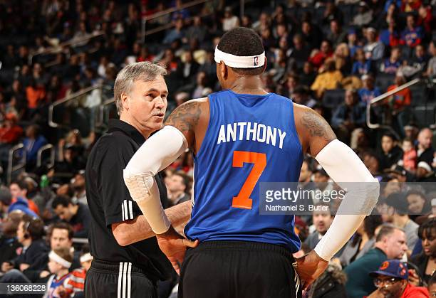 Head Coach Mike D'Antoni and Carmelo Anthony of the New York Knicks during the New York Knicks open practice on December 18 2011 at Madison Square...