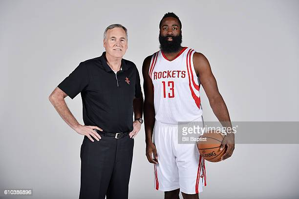 Head Coach Mike D'Antoni and James Harden of the Houston Rockets pose for a portrait during the 2016 NBA Media Day at the Toyota Center on September...