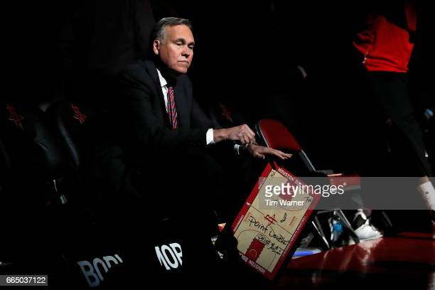 Head coach Mike D'Antoni of the Houston Rockets awaits the start of the game against the Denver Nuggets at Toyota Center on April 5 2017 in Houston...