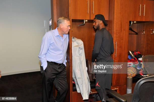 Head Coach Mike D'Antoni of the Houston Rockets chats with Chris Paul as he shows him around the locker on July 14 2017 at the Toyota Center in...