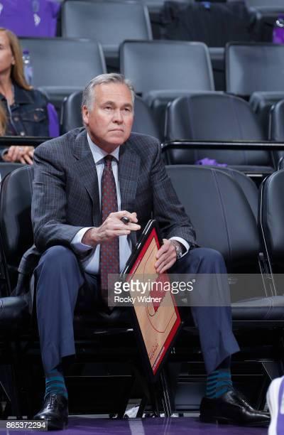 Head coach Mike D'Antoni of the Houston Rockets coaches against the Sacramento Kings on October 18 2017 at Golden 1 Center in Sacramento California...