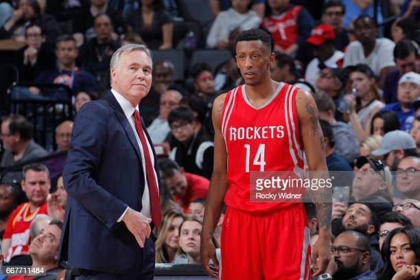Head coach Mike D'Antoni of the Houston Rockets coaches Troy Williams against the Sacramento Kings on April 9 2017 at Golden 1 Center in Sacramento...