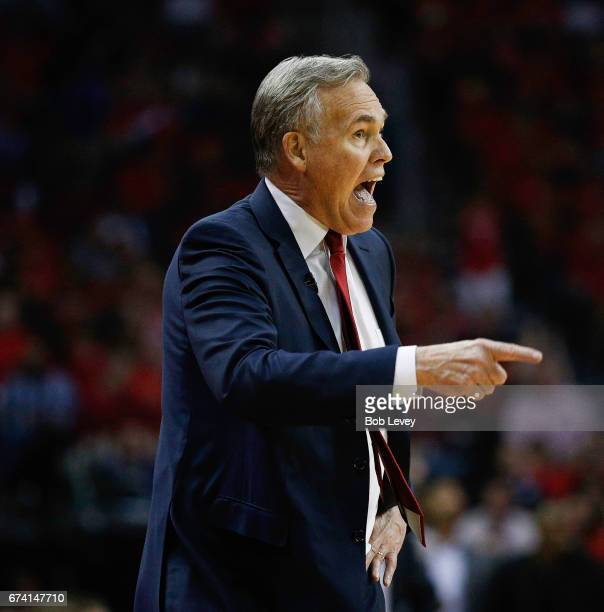 Head coach Mike D'Antoni of the Houston Rockets during Game Five of the Western Conference Quarterfinals game of the 2017 NBA Playoffs at Toyota...
