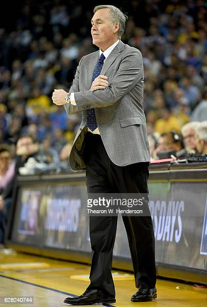 Head coach Mike D'Antoni of the Houston Rockets looks on against the Golden State Warriors during an NBA basketball game at ORACLE Arena on December...