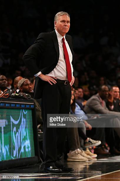 Head coach Mike D'Antoni of the Houston Rockets looks on form thebech against the Brooklyn Nets at Barclays Center on January 15 2017 in Brooklyn...