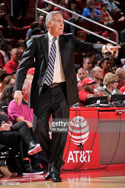 Head coach Mike D'Antoni of the Houston Rockets reacts to a play against the Dallas Mavericks on October 30 2016 at the Toyota Center in Houston...