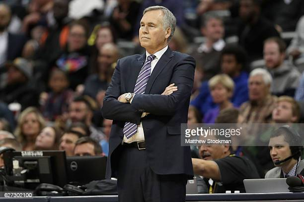 Head coach Mike D'Antoni of the Houston Rockets watches as his team plays the Denver Nuggets at the Pepsi Center on December 2 2016 in Denver...