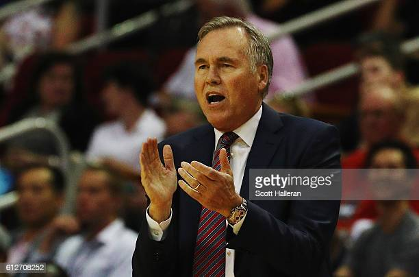 Head coach Mike D'Antoni of the Houston Rockets watches the play during their game against the New York Knicks at the Toyota Center on October 4 2016...