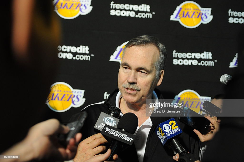 Head coach Mike D'Antoni of the Los Angeles Lakers answers questions from the media before taking on the Utah Jazz at Staples Center on December 9, 2012 in Los Angeles, California.