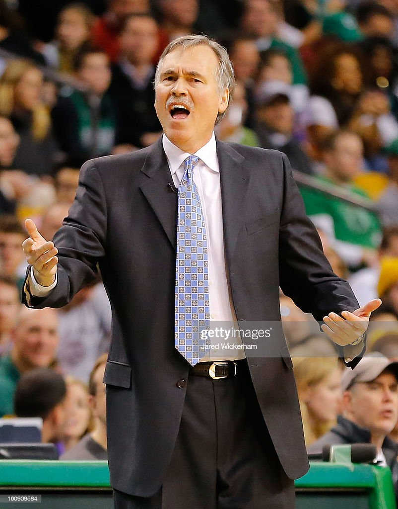 Head coach Mike D'Antoni of the Los Angeles Lakers argues a call against the Boston Celtics during the game on February 7, 2013 at TD Garden in Boston, Massachusetts.