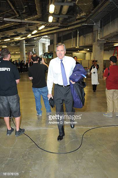 Head Coach Mike D'Antoni of the Los Angeles Lakers arrives for a game between the Los Angeles Lakers and the Miami Heat on February 10 2013 at...