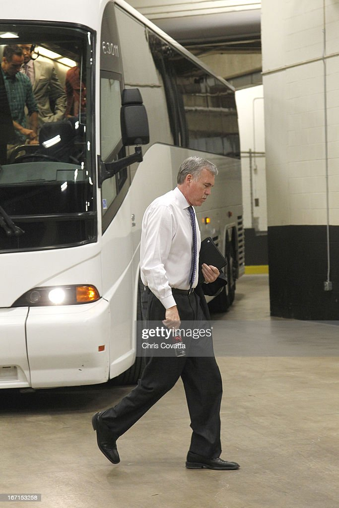 Head Coach Mike D'Antoni of the Los Angeles Lakers arrives for the Game One of the Western Conference Quarterfinals between the Los Angeles Lakers and the San Antonio Spurs on April 21, 2013 at the AT&T Center in San Antonio, Texas.