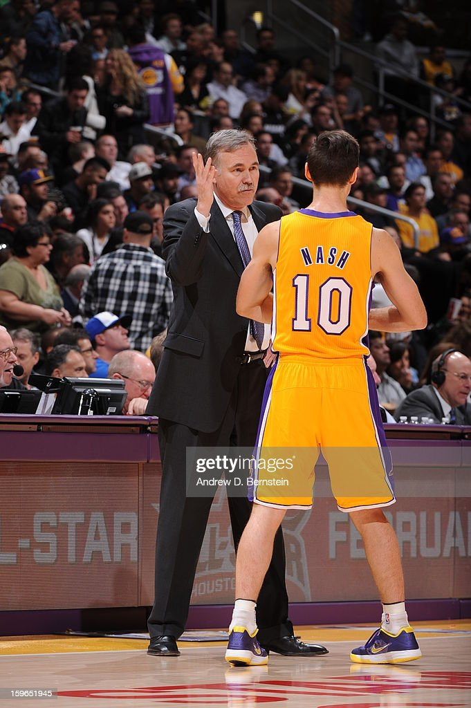 Head coach Mike D'Antoni of the Los Angeles Lakers directs Steve Nash #10 in a game against the Miami Heat at Staples Center on January 15, 2013 in Los Angeles, California.
