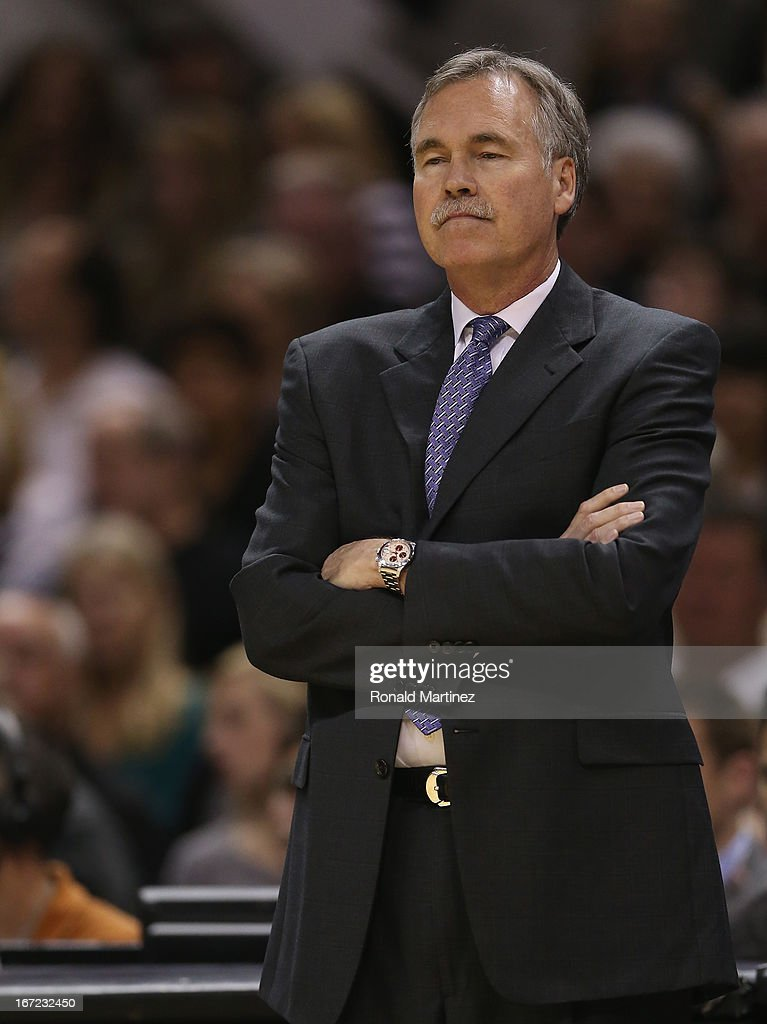 Head coach, Mike D'Antoni of the Los Angeles Lakers during Game One of the Western Conference Quarterfinals of the 2013 NBA Playoffs at AT&T Center on April 21, 2013 in San Antonio, Texas.