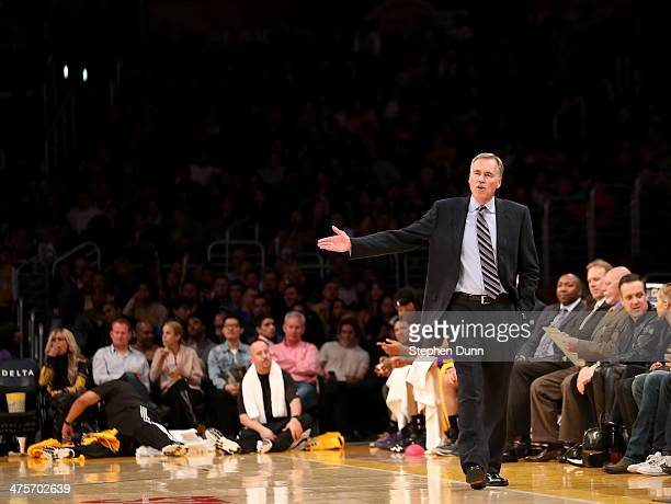 Head coach Mike D'Antoni of the Los Angeles Lakers gestures during the game against the Sacramento Kings at Staples Center on February 28 2014 in Los...