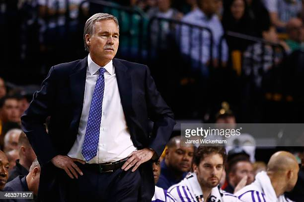 Head coach Mike D'Antoni of the Los Angeles Lakers looks on against the Boston Celtics in the second quarter during the game at TD Garden on January...