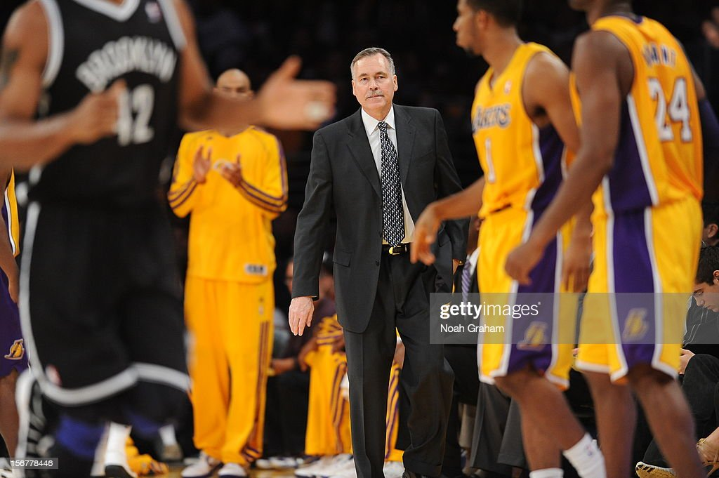 Head coach Mike D'Antoni of the Los Angeles Lakers looks on as his team plays against the Brooklyn Nets at Staples Center on November 20, 2012 in Los Angeles, California.