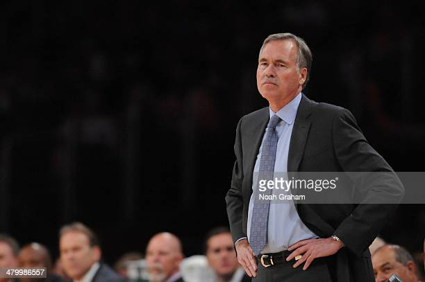 Head coach Mike D'Antoni of the Los Angeles Lakers looks on during a game against the Washington Wizards at Staples Center on March 21 2014 in Los...