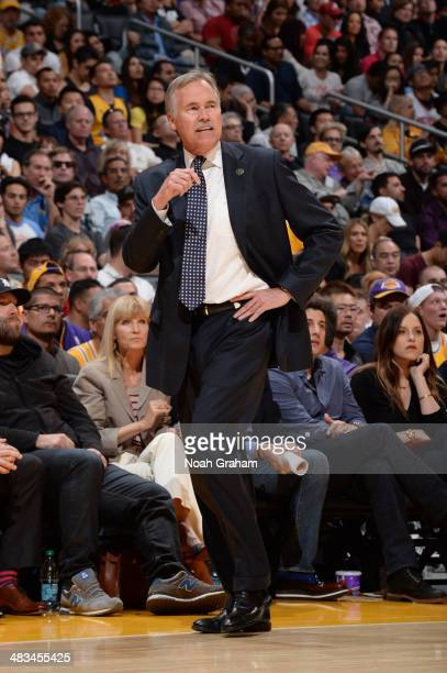 Head coach Mike D'Antoni of the Los Angeles Lakers looks on from the sideline during a game against the Houston Rockets at Staples Center on April 8...